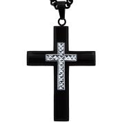 American Steel Jewellery Men's Stainless Steel Black Cross with Silver-Tone Diamond-Cut Accent, 60cm