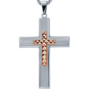 American Steel Jewellery Men's Stainless Steel Cross with Rose Gold Tone Diamond Cut Cross with Chain