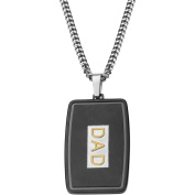 Steel Art Men's Stainless Steel Gold IP DAD Engraved in Steel and Black IP Dog Tag Pendant, 60cm Chain
