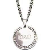 Steel Art Men's Stainless Steel DAD and Greek Key Inscription Round Pendant, 60cm Chain