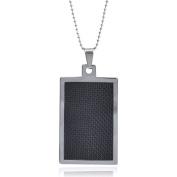 Daxx Men's Tungsten Black Fibre Inlay Dog Tag Pendant