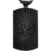 American Steel Jewellery Men's Stainless Steel Black Skull Dog Tag, 60cm
