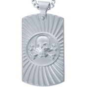 American Steel Jewellery Men's Stainless Steel Matte Skull Dog Tag with Chain