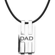 Steel Art Men's Stainless Steel Modern Black Engraved DAD Dog Tag Pendant, 60cm Cord