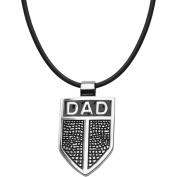 Steel Art Men's Stainless Steel Inscription DAD Shield Pendant, 60cm Cord