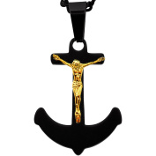 American Steel Jewellery Men's Stainless Steel Black Anchor with Gold-Tone Jesus, 60cm