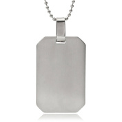 Daxx Men's Stainless Steel Polished Engrave-Able Dog Tag Pendant Fashion Necklace