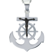 American Steel Jewellery Men's Stainless Steel Cross Anchor with Black Tone Jesus with Chain