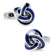 Sterling Silver Knot Cufflinks Blue Enamel Accents