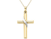 Cross Pendant Necklace in 14K Yellow and White Gold with Chain