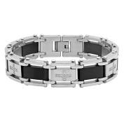 "Steel Nation Jewellery Men's Black Two-Tone Stainless Steel .25cttw Diamond Cross - Mens Link Bracelet, 8.5"""