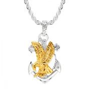 Duet Men's Eagle on Anchor Pendant in 22K Gold over Sterling Silver