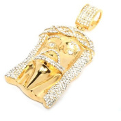 Mens Crowned Jesus Large Stainless Steel Gold Tone Iced Out Hip Hop Pendant W