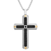 BIG Jewellery Co Men's Tri-Colour Stainless Steel Cable Inlay Cross Pendant Necklace