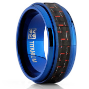 Men's Blue Titanium Wedding Bands Ring With Black and Red Carbon Fibre Inlay, 9mm