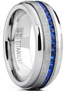 Men's Titanium Wedding Band Engagement Ring W/ Blue Simulated Sapphire Cubic Zirconia Princess CZ