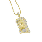 Mens 3.8cm 14k Gold Plated Iced Out Lab Diamonds (CZ) Classic Jesus Pendant with Chain