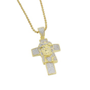 Mens 3.2cm 14k Gold Plated Iced Out Lab Diamonds (CZ) Jesus Head on Cross Pendant with Chain