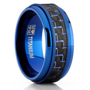 Men's Blue Titanium Wedding Bands Ring With Black and Blue Carbon Fibre Inlay, 9MM