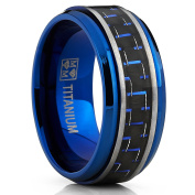 Men's Brushed Blue Titanium Wedding Bands Ring With Black and Blue Carbon Fibre Inlay, 9mm Comfort Fit