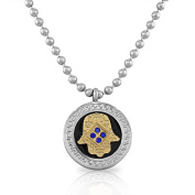 EDFORCE Stainless Steel Two-Tone Hamsa Evil Eye Blue CZ Pendant Necklace