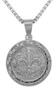 Jewellery Trends Stainless Steel Fleur De Lis Pendant on 60cm Box Chain Necklace