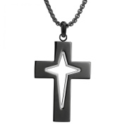 BIG Jewellery Co Black-plated Stainless Steel Men's Cross Pendant Necklace