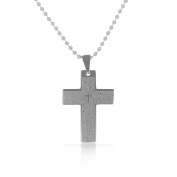 EDFORCE Stainless Steel Silver-Tone Lords Prayer in English Mens Cross Pendant Necklace