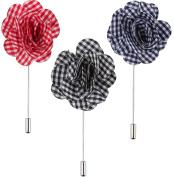 3 Pc Men's Lapel Flower Pin Set Gingham Plaid Handmade Boutonniere, Blue, Black, Red