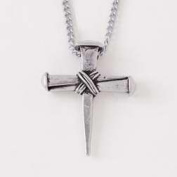 Necklace-Cross-Wrapped Nails w/60cm Adjustable Chain-Pewter