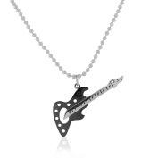 EDFORCE Stainless Steel Black Silver-Tone Large Guitar Pendant Necklace