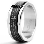 Two Tone Stainless Steel Ring with Lords Prayer and Cross Design