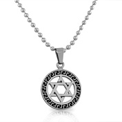 EDFORCE Stainless Steel Silver-Tone Black Jewish Star of David Men's Boys Pendant Necklace