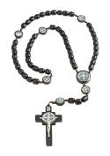 Mens Saint St Benedict Black Wood Beaded Rosary, 6.4cm Cross, 48cm
