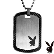 Mens Playboy Necklace Bunny Logo Dog Tag Pendant Stainless Steel Licenced Unisex