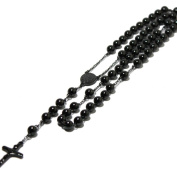Black Ion Plated Rosary Necklace