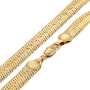 Hermah 11mm Mens Boys Chain Mirror Herringbone Snake Link Chain Gold Plated Necklace 22inch