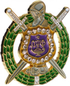 Omega Psi Phi Crystal Escutcheon Shield Lapel Pin [Gold - 2.5cm ]