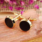 Tie Clip Gold & Black Colour Round Mens Wedding Party Gift Shirt Cuff Links Cufflinks