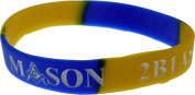 Mason 2B1 ASK1 Colour Swirl Silicone Bracelet [Pack of 2 - Blue/Gold - 20cm ]