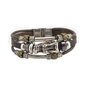 FAIRY COUPLE Vintage Silver Plated Dragon's Head Triple Strands Leather Bracelet L203