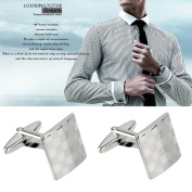 Tie Clip Stainless Steel Silver Vintage Men's Wedding Gift Classical Grid Cuff Links