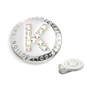 The Elixir Golf Hand-Craft Australia Crystal Golf Ball Marker with Hat Clip, Initial 'K'