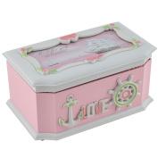 Birthday Gift Plastic Rectangular Shaped Sailboat Pattern Jewellery Music Box Pink