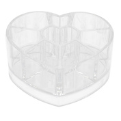 Household Acrylic Heart Shaped Jewellery Makeup Storage Box Brush Organiser Clear