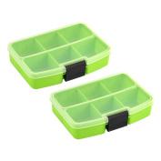 Desktop Plastic Rectangle 6 Compartments Storage Box Organiser Green 2pcs