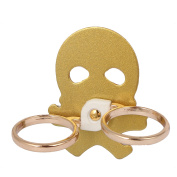 Mobile Phone Cellphone Skull Pattern Adhesive Finger Ring Stand Holder Gold Tone