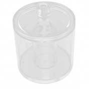 Unique Bargains Clear Acrylic Round Shape Cotton Swab Makeup Pencil Holder Organiser Jewellery Box