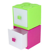 Green Fuchsia Plastic Drawer Detachable 2 Compartments Jewellery Holder Containner