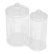 Acrylic Cylinder Shape Cotton Swab Brush Holder Jewellery Box Organiser Clear